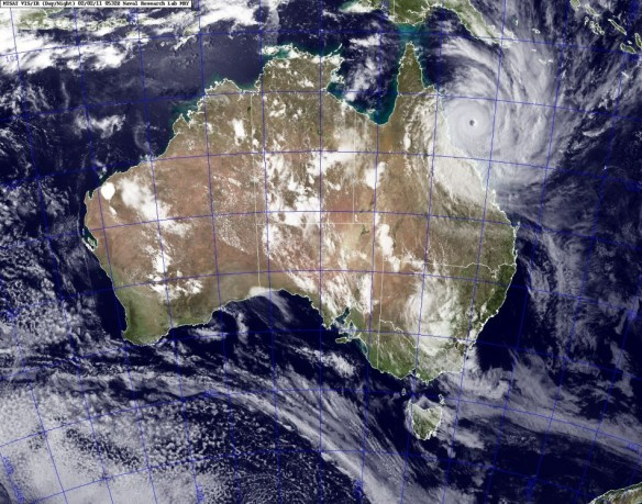 The power of Cyclone Yasi is evident on the satellite imagery