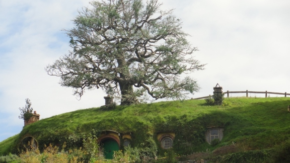 Bilbo's house. The tree is not real, with the leaves all woven on the branches by hand