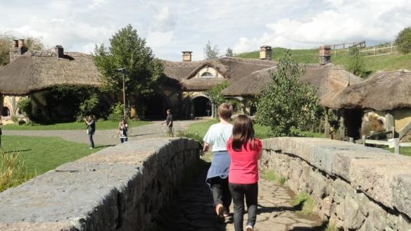 Walking across the bridge to the Green Dragon Inn
