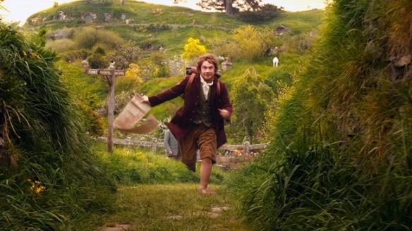 Bilbo Baggins (UK actor, Martin Freeman), in a scene filmed at Hobbiton.