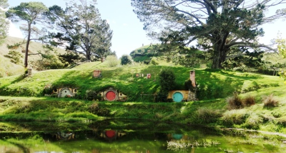 The Hobbiton Movie set, located on farmland in rural New Zealand (North Island)