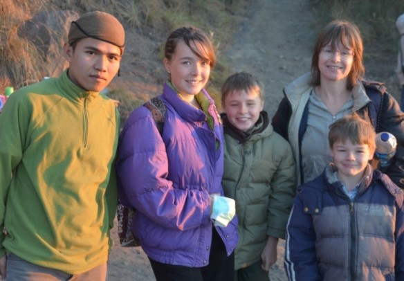 Michael's family with their Mt Bromo guide
