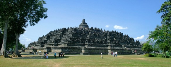 Borobudur - a Buddhist temple built in the 9th century and re-discovered in the 19th century.