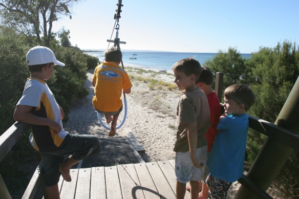 Kids love the adventure playground at Siesta Park.
