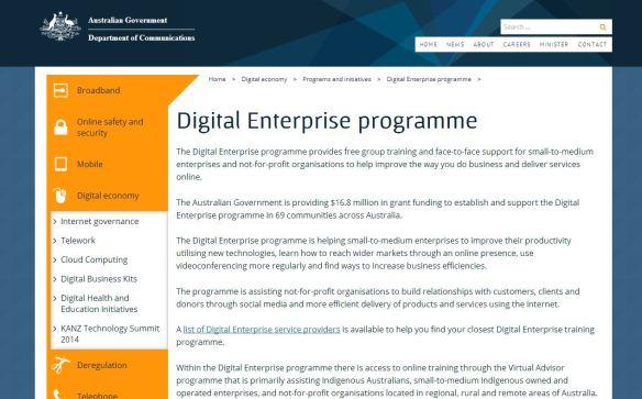 Federal Govt's Digital Enterprise Program - free workshops for business owners.