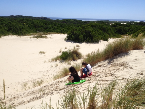 How much fun is this? sand tobogganing at the Henty sand-dunes.