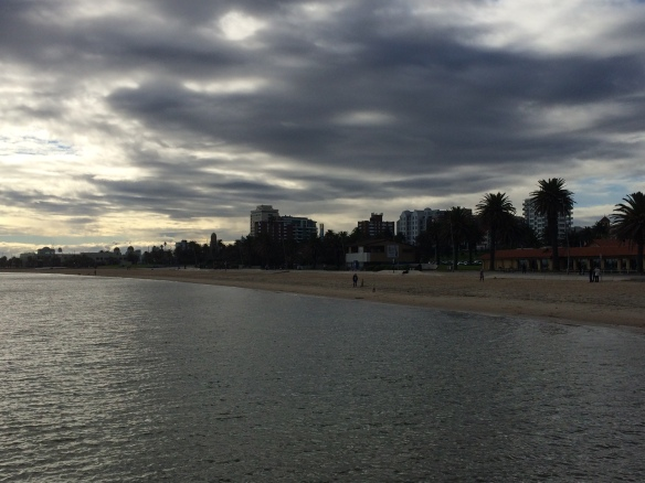 St Kilda beach in winter - too cold to swim, but still beautiful and great for a walk with the kids.